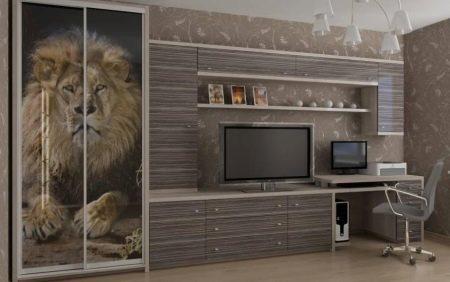 Шкаф-купе в зал (45 фото): дизайн стенки в интерьере хрущевки