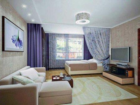 Дизайн спальни-гостиной 17 кв