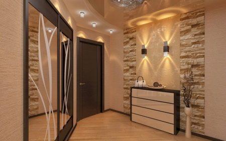 Освещение в прихожей (56 фото): светильники в коридор, какие выбрать к натяжными потолками, дизайн с зеркалами, для маленькой прихожей в - хрущевке, длинной и узкой