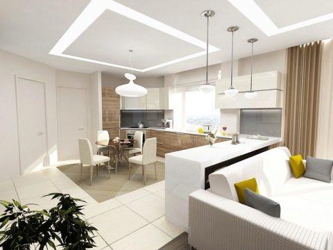 Дизайн кухни гостиной 15 кв м фото с зонированием — фото интерьеров | 360x480