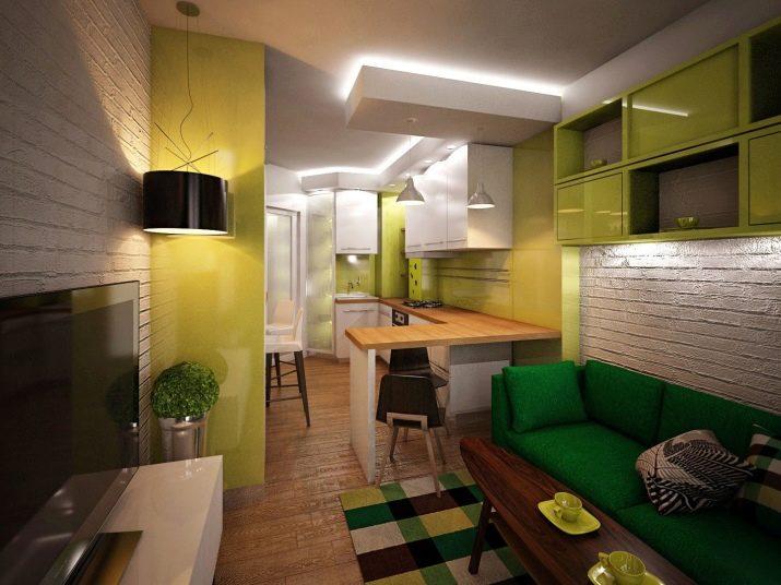 кухня-гостиная 17 квадратов со стеной 6 метров один