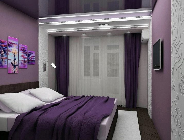 потолком с фиолетовым фото спальни