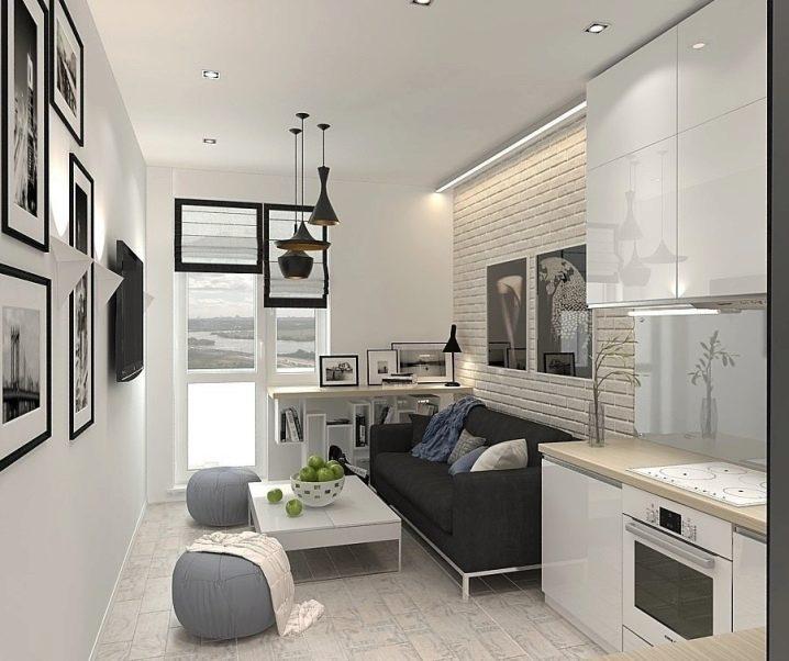 дизайн кухни гостиной 20 кв м фото с зонированием 2