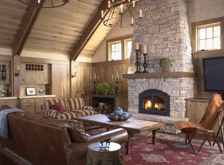 Современные камины в интерьере гостиной