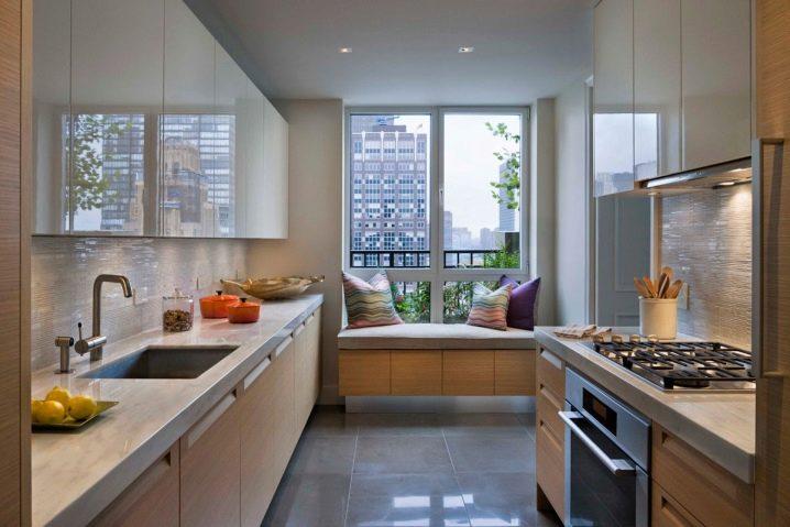 Дизайн балкона, совмещенного с кухней (50 фото): шторы с вых.