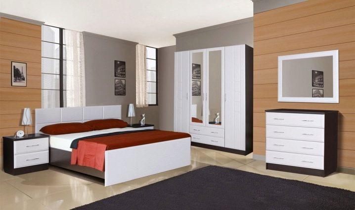 спальный гарнитур 85 фотокомплект мебели с угловым шкафом дизайн