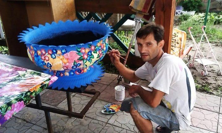 Вазоны из шин (покрышек) для цветов своими руками